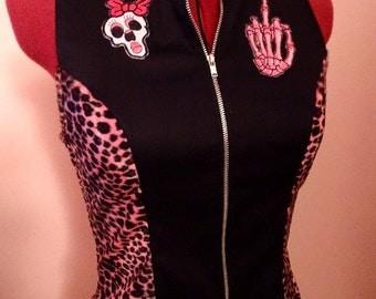 Jacket psychobilly zombie cupcake leopard rockabilly punk skull tattoo rétro polka dot sailor anchor nautical horror monster