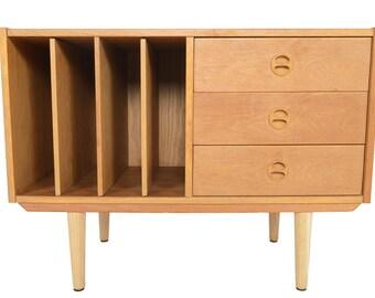 Danish Modern Mid Century Oak Record Credenza