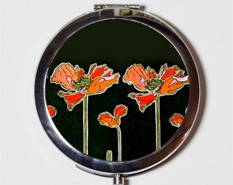 Art Nouveau Poppies Compact Mirror - Art Deco Flowers Floral 1920s - Make Up Pocket Mirror for Cosmetics