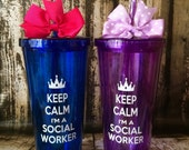 "Personalized ""20 OZ"" Social worker/ Handmade/ Masters of Social Work gift , Acrylic tumbler with screw on lid and straw."
