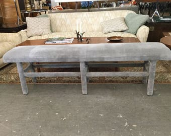 1970's long upholstered Parsons bench