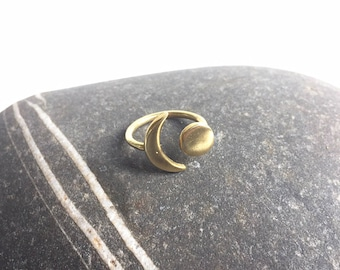 Gorgeous Cresent Moon and Planet Ring Raw Golden Brass Luna Ring Cosmic and Adjustable