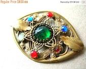 Vintage Brass Brooch - Vintage brooch - Filigree Jewelry