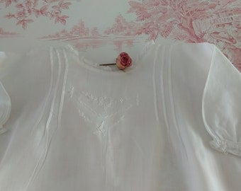 handmade Vintage white  shabby chic christening gown antique blessing dress white embroidered cotton  baptism dress vintage baby clothes