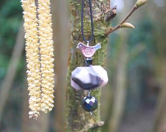 Pink Opal Hematite Raw Gemstone Bird Necklace Pendant, Nature Stones Boho Hippie Necklace, Gemstone Necklace, Bridesmaids Gift, Mothers Day