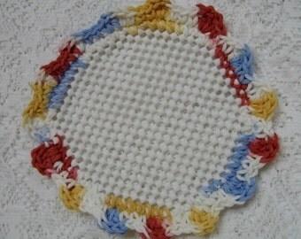 Crocheted Lid Jar Bottle Opener Blue Gold Orange White Scalloped Edging Jar Grabber