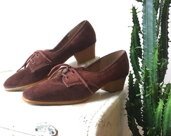 Brown suede oxford heels | Browsabouts | size 7.5