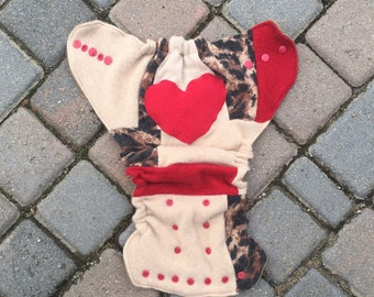 One Size Wool Cloth Diaper Cover/Nappy Cover/Soaker/Wool Wrap - Red and Cheetah Print Patchwork with a Heart Applique (One-size fits most)