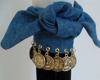 Handmade - Blue Dennis Wrap/Strap with Antique Gold Color Coins Charm Bracelet.  Free Shipping