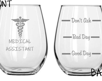 Medical Assistant Sand Carved Glass FREE Personalization
