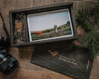 4x6 SET of 10 (save 10 dollars) - Wood print box for 4x6 photos and usb drive - rectangle - (spanish moss included)