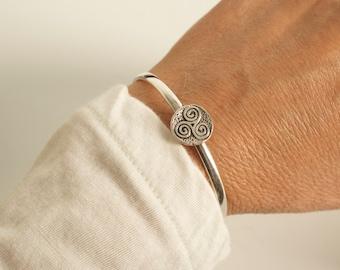 Triskele cuff bracelet - triskelion sterling bracelet - triple spiral cuff bracelet - celtic symbol cuff bracelet