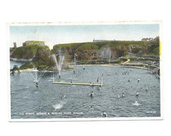 vintage color postcard of The Sprays for bathing and paddling, Dunbar, Scotland, 1937