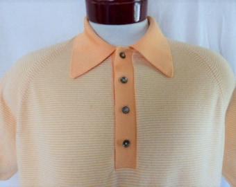 vintage 60's 70's Puritan Sportswear pastel peach orange white horizontal stripe textured knit polo shirt raglan big contrast color collar