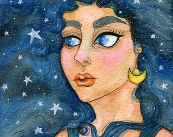 """Original Watercolor 5x7"""" - Asteria, Celestial Goddess"""