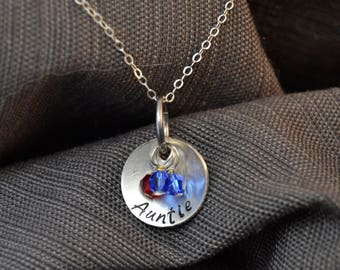 aunt necklace, aunt gift, custom name pendant