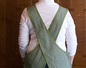 Olive Green Cross Back Apron with Two Pockets - Size L to XL