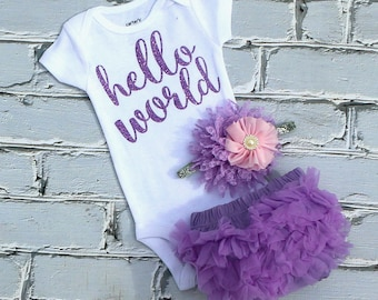 Baby Girl Take Home Outfit / Baby Girl Coming Home Outfit / Newborn Girl Hello World / Baby Girl Hospital Outfit / Newborn Lilac Take Home