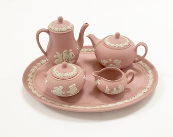 PINK WEDGWOOD TEA Set - Miniature Tea Set - Jasperware Tea Set - Mini Oval Tray - Rare 8 Pieces