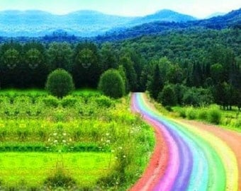 Larry Carlson Fantastic Rainbow Road in Mountains framed under glass signed & numbered 46/250 Estate