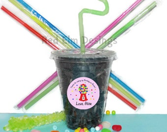 Gumball Party Cups, Gumball Cups, Kids Birthday Party Cups, 20 Cups, Gumball Kids Party Cups, Straws and Lids, 12 Ounce Cups