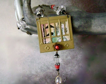 window pendant necklace with hand tinted vintage vignette,  vintage mustard seed charm, assemblage necklace, window necklace, AnvilArtifacts