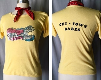 1970's Glitter Iron On Chicago Babe T-Shirt