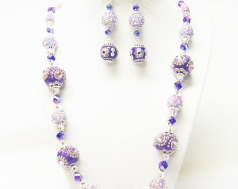 Chunky Purple Cloisonné w/Sapphire Crystal Glass Bead Necklace/Bracelet/Earrings