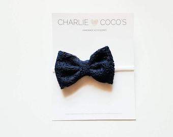 Baby/Girls Navy Blue Lace Bow Headband, Navy Blue Lace Hair Bow Clip, Navy Blue Lace Hair Bow by charliecocos