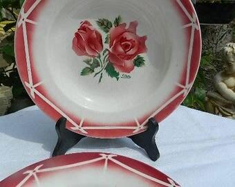 Vintage, 2 old hollow plates Sarreguemines