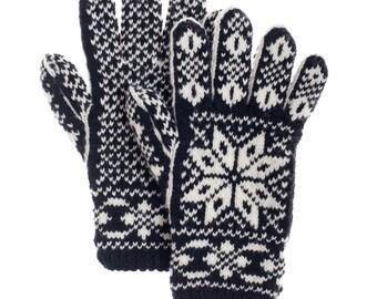 Gloves From Warm Merino Wool Norwegian Selbu Design Handmade Gloves Hand-knit Mittens Winter Mittens Winter Gloves Ski Gloves