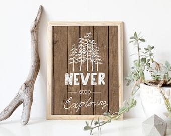 Never Stop Exploring Art Print, Tribal Nursery Decor, Tribal Kids Bedroom Decor, Tribal Bear Art Print, Forest Print, Woodland Art, A-1293