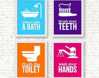 Kids Bathroom Art Prints, Bathroom rules prints, Bathroom prints icons, take a bath, wash your hands, brush flush wash, bathroom rules art