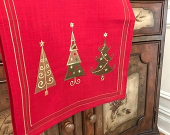 """Christmas Table Runner   Christmas Tree Table Runner   Farmhouse   Rustic Table Long   72""""   Embroidered   Shaby Chic   Monogram Saying"""