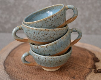 Pottery espresso cups Set, 2 Turquoise Ceramic Espresso cups set, Two ceramic stoneware espresso mugs set, coffee lovers gift