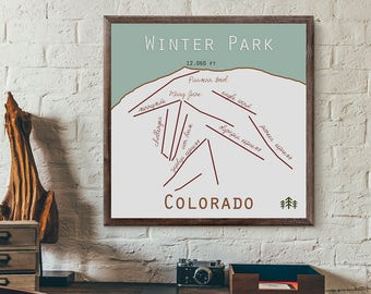 Winter Park Colorado Ski Trail Map Print or Canvas. Colorado Ski Map. Winter Park map. Winter Park co. ski print. colorado decor. art. gift.