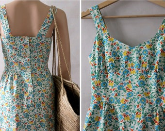 1970 Paris  floral Straps Dress Back buttoned  Gaston Jaunet cotton FR38 US8