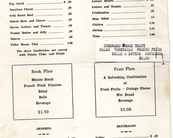Vintage Teller House Grill Silverton, Colorado 1947 Menu with Sandwiches, Salads Steak & Fruit Plates, More Special Stapled On Very Cool