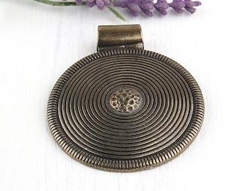 Large Round Circular Tribal Focal Pendant, Bronze Plated, 1 piece // ABP-072