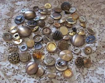 Large Lot of 60 Assorted Gold Brass Metal Buttons