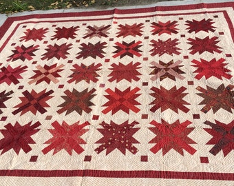 Miss Lillian's Quilt, Red, off-white, Stars, 80x93 inches, handmade, MaterialThings, twin size, couch throw