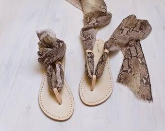 leather silk sandals, italian scarf sandals, animalier lace up sandal, one of a kind sandal agnès de juliis