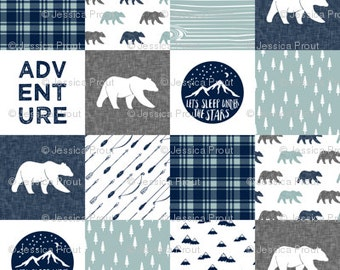 Adventure-Bear Patchwork Minky Blanket or Quilt