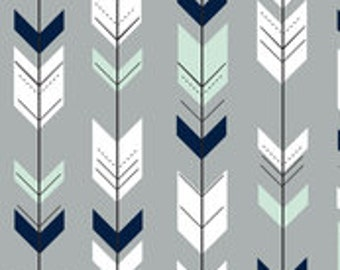 Arrow Bumper Pads (mint, navy and gray)