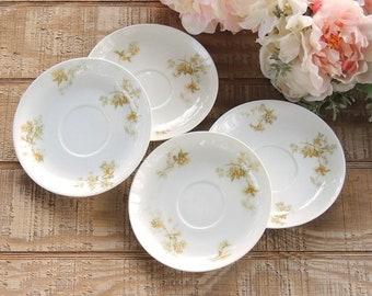 Haviland Limoges Floral Saucers Set of 4 Mismatched Plates, Romantic Farmhouse,Tea Cups Cottage Style Tea Party Plates