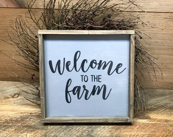 Welcome To The Farm, Rustic Farm Decor, Farmhouse Sign, Farmhouse Decor, Wooden Sign, Wood Sign Sayings, Farmhouse Style, Housewarming Gift