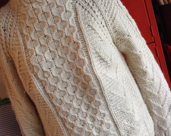Vintage hipster handmade 80s ivory wool fisherman cable sweater size large free domestic shipping