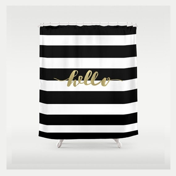Black And Gold Shower Curtain Striped Shower Curtain By RubyandB