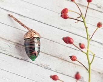 Acorn shaped topper_dark green copper_artisan lampwork glass_glass topper_electroformed cap_woodland home decor_woodland craft supply