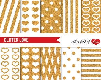 Gold DIGITAL PAPER Pack Golden Glitter Graphics Polka Dots Golden Heart pattern stripes Valentines Day Paper Valentine Background Love A4